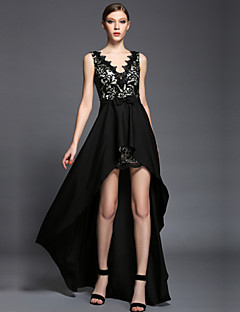 Cocktail Party / Formal Evening Dress Sheath / Column V-neck Asymmetrical Chiffon / Lace with Beading / Bow(s)