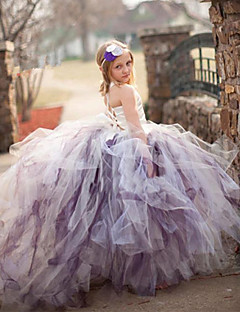 Flower Girl Dress Ball Gown Court Train - Tulle / Stretch Satin / Polyester Sleeveless Spaghetti Straps