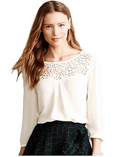 Women's Solid White / Black T-shirt , Round Neck Long Sleeve