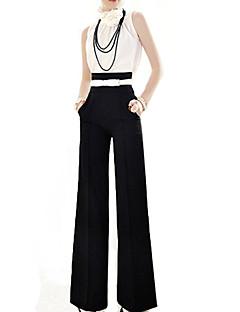 zipper solta cintura alta das mulheres incendiar calças perna larga, mais preto tamanho