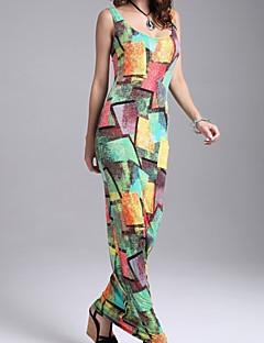 Dámské Nabírané šaty Maxi Bavlna / Akryl Šaty Do U Bez rukávů