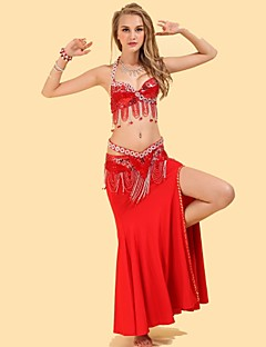 Belly Dance Outfits Women's Performance Spandex Polyester Draped 3 Pieces Belt Skirt Top S-L: 96