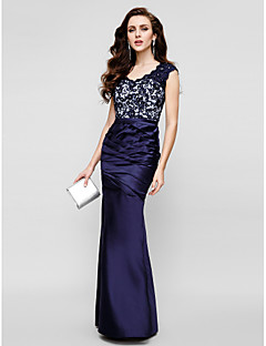 Formal Evening Dress Trumpet / Mermaid Strapless Floor-length Lace / Satin with Lace / Side Draping