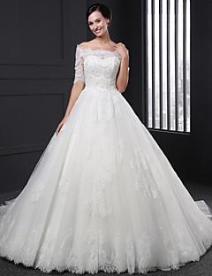 웨딩 드레스 - 화이트 볼 가운 쿼트 트레인 오프 더 숄더 레이스