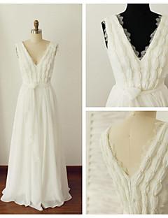웨딩 드레스 - 아이보리(색상은 모니터에 따라 다를 수 있음) A 라인 바닥 길이 V 넥 쉬폰