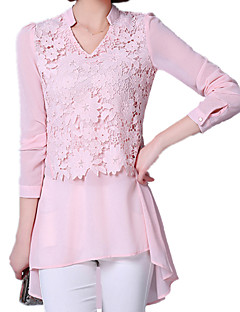 Damen Bluse  -  Spitze / Ausgehöhlt Polyester / Elasthan / Andere Langarm V-Ausschnitt