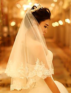 한층 - 레이스처리된 가장자리 - 엔젤컷/워터팔 - 블러셔 베일 / 어깨 베일 / 팔꿈치 베일 / 손가락 베일 ( 아이보리 , 새해장식 )