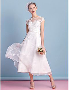 Lan Ting A-line Wedding Dress - Ivory Tea-length Bateau Organza