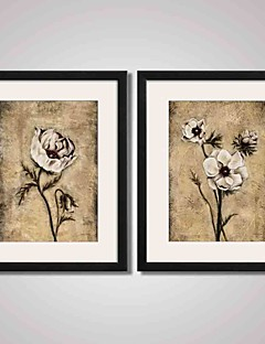 Framed Vintage Flowers Canvas Print Art for Bedroom Decoraion and Office Decoration Set of 2 Ready To Hang
