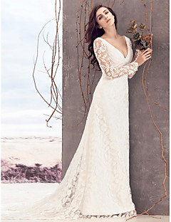 Lanting Bride Sheath/Column Wedding Dress-Court Train V-neck Lace