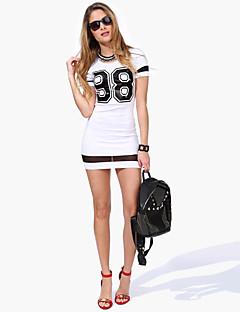 Damen Bodycon Kleid-Lässig/Alltäglich / Übergröße Sexy Druck Rundhalsausschnitt Mini Kurzarm Weiß / Schwarz Polyester Alle Saisons