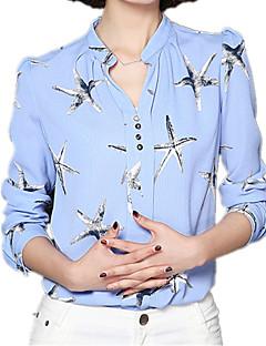 Vrouwen Eenvoudig Lente Blouse,Casual/Dagelijks Print V-hals Lange mouw Blauw / Roze / Wit / Zwart Polyester / Overige Medium