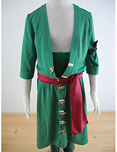 Inspired by One Piece Roronoa Zoro Anime Cosplay Costumes Cosplay Suits Solid Green Coat / Pants / Armlet / Waist Accessory / Belt