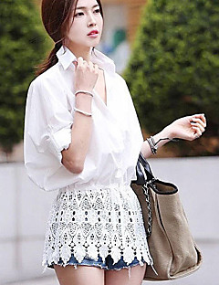 אחיד צווארון חולצה פשוטה יום יומי\קז'ואל טישרט נשים,סתיו שרוול ארוך לבן דק כותנה