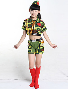 Jazz Outfits Children's Performance Cotton Pattern/Print 3 Pieces Green Jazz Short Sleeve Headpieces / Top / Shorts