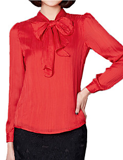 Spring Women's Folds Chiffon Bow Frenum Long Sleeve Temperament Slim OL Shirt Party Blouse Tops