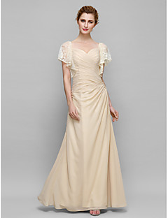 Sheath / Column Mother of the Bride Dress Ankle-length Short Sleeve Chiffon with Lace / Criss Cross