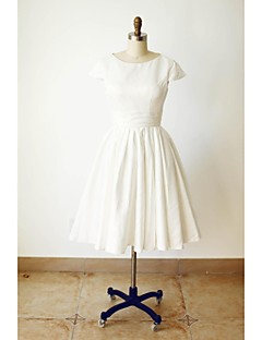 A-line Wedding Dress Little White Dress Knee-length Jewel Satin with Sash / Ribbon
