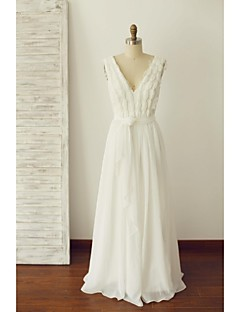 A-line Wedding Dress - Ivory Floor-length V-neck Chiffon