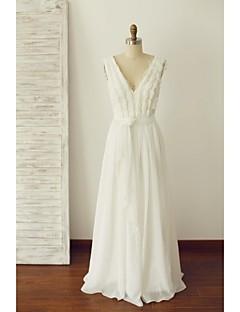 Linha A Vestido de Noiva Longo Decote V Chiffon com Renda / Pérola / Faixa / Fita