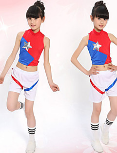 Cheerleader Costumes Outfits Children's Performance Cotton Pleated 2 Pieces Red Jazz Long Sleeve Top / Shorts