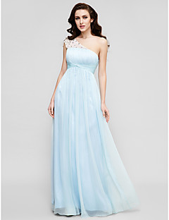 TS Couture Prom Formal Evening Military Ball Dress - Elegant A-line Princess One Shoulder Floor-length Chiffon Tulle withBeading Draping