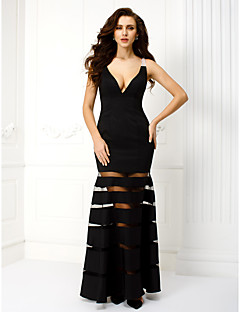 TS Couture Prom Formal Evening Black Tie Gala Dress - Sexy Sheath / Column V-neck Ankle-length Satin with Beading