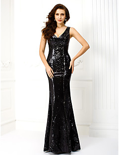 TS Couture® Formal Evening / Military Ball Dress Plus Size / Petite Trumpet / Mermaid V-neck Floor-length Sequined with