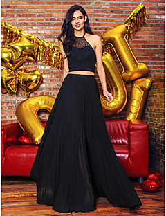 Formal Evening Dress - Black A-line Halter Floor-length Chiffon / Lace