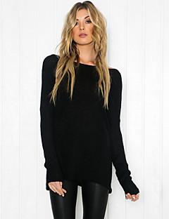 Tee-shirt Aux femmes,Couleur Pleine Décontracté / Quotidien Vintage / simple Manches Longues Col Arrondi Blanc / Noir Polyester Fin