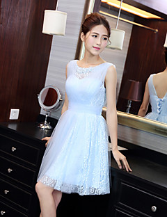 Knee-length Lace / Tulle Bridesmaid Dress A-line Jewel with
