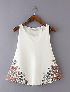 Mulheres Blusa Casual Simples Verão,Floral Branco Poliéster Decote Redondo Sem Manga Média
