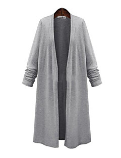 Women's Casual/Daily Plus Size Street chic Long Cardigan,Solid Black Gray Long Sleeve Cotton Spring Medium Micro-elastic