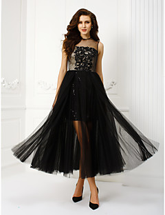 TS Couture® Homecoming / Prom / Formal Evening Dress Plus Size / Petite A-line / Princess Jewel Tea-length Tulle with Appliques / Beading / Sequins