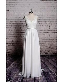 시스 / 칼럼 웨딩 드레스 바닥 길이 V-넥 쉬폰 / 새틴 와 아플리케
