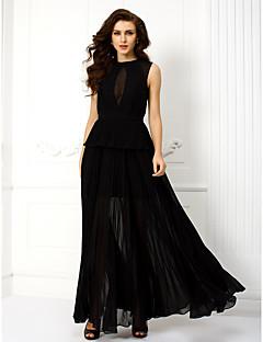 ts couture® vestido de noite formal plus size / bainha / coluna petite jóia do assoalho-comprimento chiffon com
