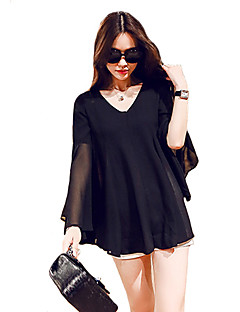 Women's Casual/Daily Plus Size / Simple / Street chic All Seasons Blouse,Solid V Neck Long Sleeve White / Black Polyester Thin