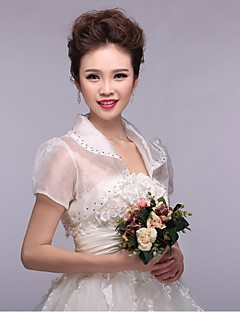 Wraps de mariage Boleros Manche courte Dentelle / Tulle Blanc Mariage / Soirée Col plissé Appliques / Dentelle Face ouverte