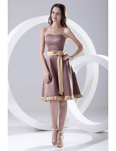 Lanting Knee-length Satin Bridesmaid Dress - Brown A-line Strapless