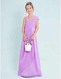 Junior-Brautjungferkleid-Lila Chiffon-Eng anliegend-Boden-Länge-Ein/Schulter