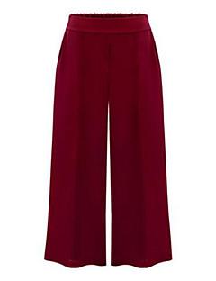 Women's Solid Blue / Red / Black Wide Leg Pants , Plus Size