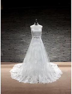 A-라인 웨딩 드레스 채플 트레인 스윗하트 레이스 / 새틴 / 튤 와 아플리케