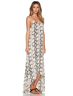 Women's Sexy / Vintage Print Swing Dress , Strap Asymmetrical Cotton / Spandex