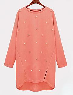 Mulheres Vestido Tamanhos Grandes / Tricô Casual Sólido Acima do Joelho Decote Redondo Acrílico
