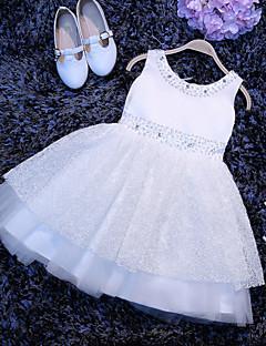 A-line Short / Mini Flower Girl Dress - Tulle Sleeveless Scoop with