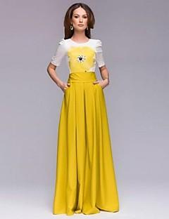 Women's Fashion Round Neck Print Color Block Swing Maxi Dress
