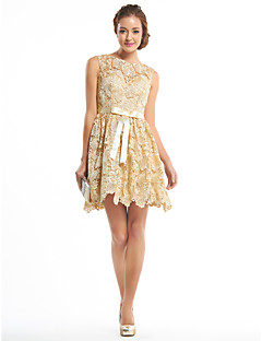 Cocktail Party Dress A-line Scoop Short/Mini Lace