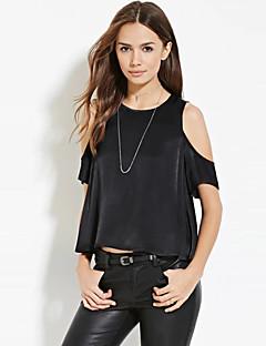 Enfärgad Kortärmad T-shirt Kvinnors Rund hals Polyester