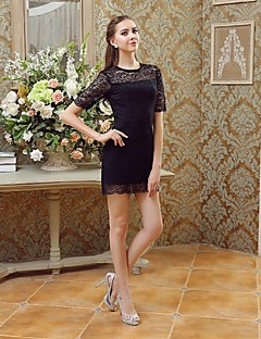 Cocktail Party Dress - Black Sheath/Column Bateau Lace