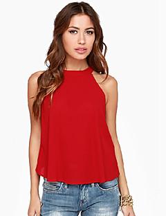 Enfärgad Ärmlös T-shirt Kvinnors Rund hals Polyester